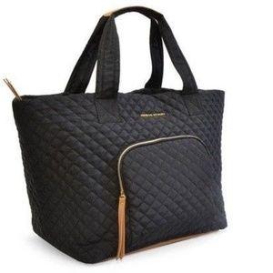 Adrienne Vittadini Quilted Nylon Travel Tote Black